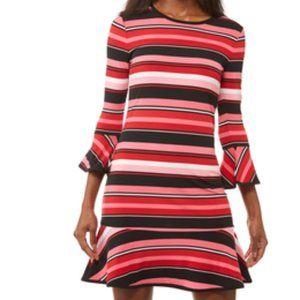 Michael Kors Striped Flounce Dress